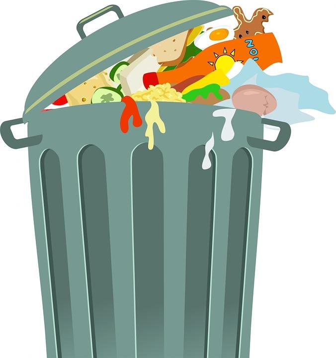 poubelle remplie de déchets alimentaires