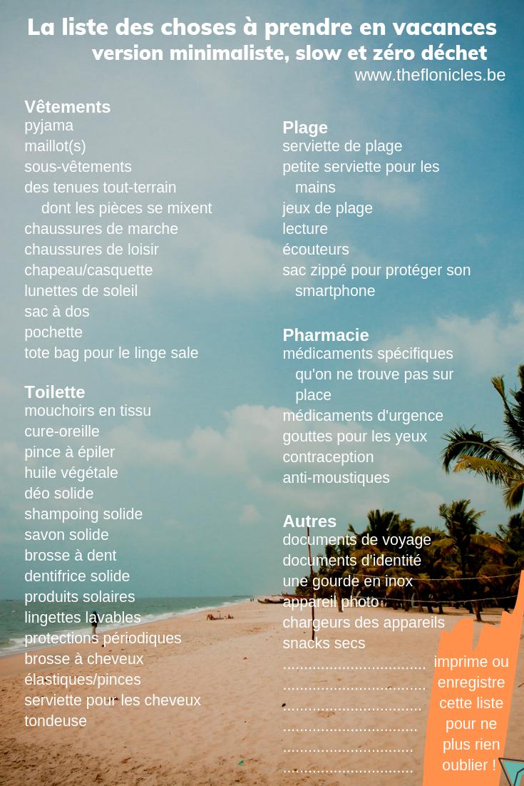 la liste des choses à prendre en vacances