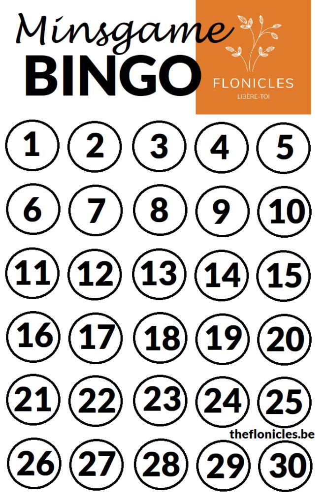 grille de bingo pour jouer au minsgame
